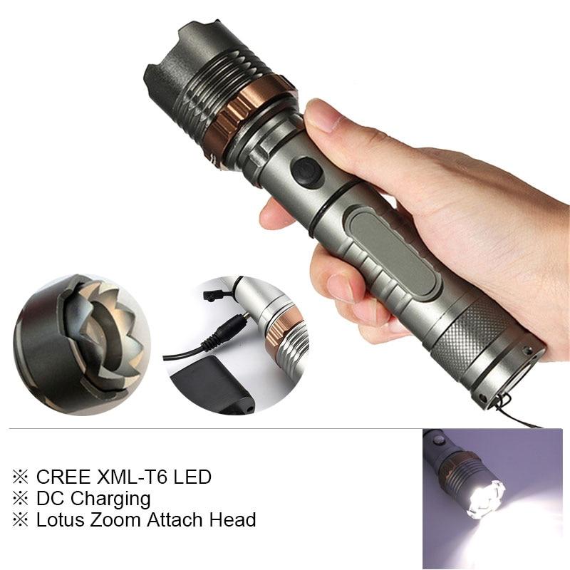 Lotus Attach Head CREE XM-L T6 5modes LED Tactical Flashlight Mechanical Zoom Torch Waterproof Hunting Flash Light Lantern meco xm l t6 2000lm 5modes lotus shape led flashlight suit