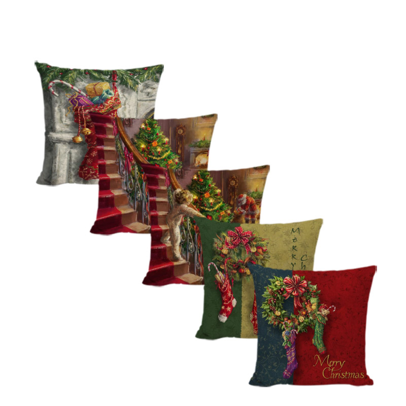 Wholesale Sock Gift Box Cushion Cover Christmas Socks 45*45cm Square Fireplace Children Santa Cluas Living Room Party Decorate