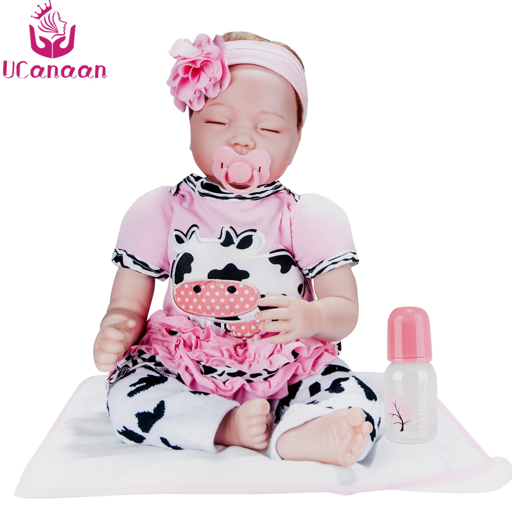 UCanaan 55CM Soft Reborn Babies Doll Cloth Body Sleeping Baby Born Dolls Play House Toys For Girls Chirstmas Gifts For Kids Toys