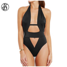 FS Female Cross Halter Neck Swimsuit Black One Piece Hollow Out Swimwear Sexy Backless Bodysuit Bandage High Waist Bathing Suit