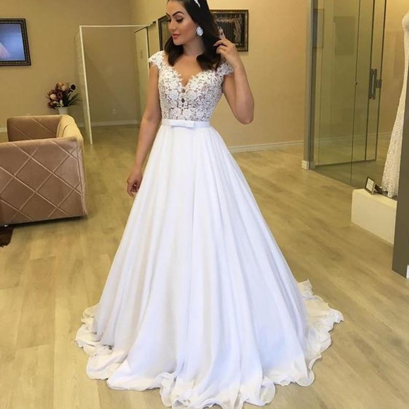 Beach Wedding Dress 2019 Cap Sleeve A-Line Chiffon Appliques Lace Princess Bride Dress Arabic Wedding Gown White Custom made