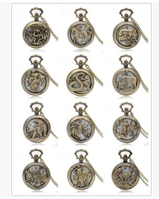 Pocket Watch Free Shipping Bronze Copper Chinese Zodiac Hollow Quartz Watch Clock Hour Chain Pendant Womens Men Xmas GIfts P908