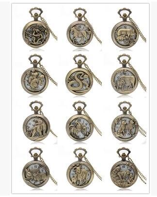 Pocket Watch Free Shipping Bronze Copper Chinese Zodiac Hollow Quartz Watch Clock Hour Chain Pendant Womens Men Xmas GIfts P908