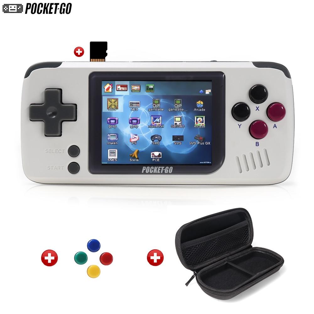 Console de jeu, PocketGo, Console de jeu vidéo rétro portable, 2.4 pouces écran portable enfants joueurs de jeu avec carte mémoire