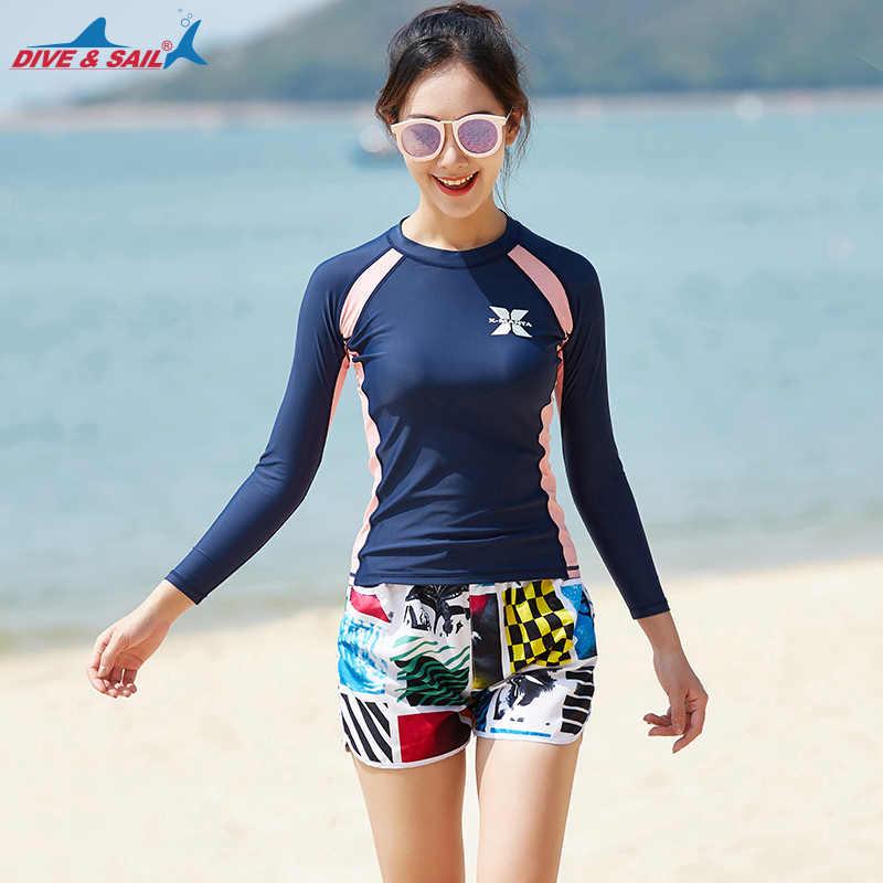 454597d9b02a Для женщин эластичный комплект из двух предметов гидрокостюм Surf футболка  с длинным рукавом купальник пляжные шорты