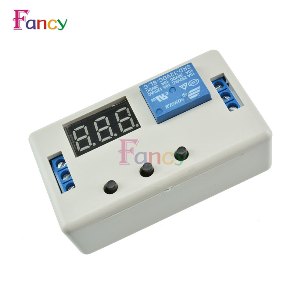 Digital LED Display Time Delay Relay Module Board DC 12V Control Programmable Timer Switch Trigger Cycle Module With Case 12v led display digital programmable timer timing relay switch module stable performance self lock board