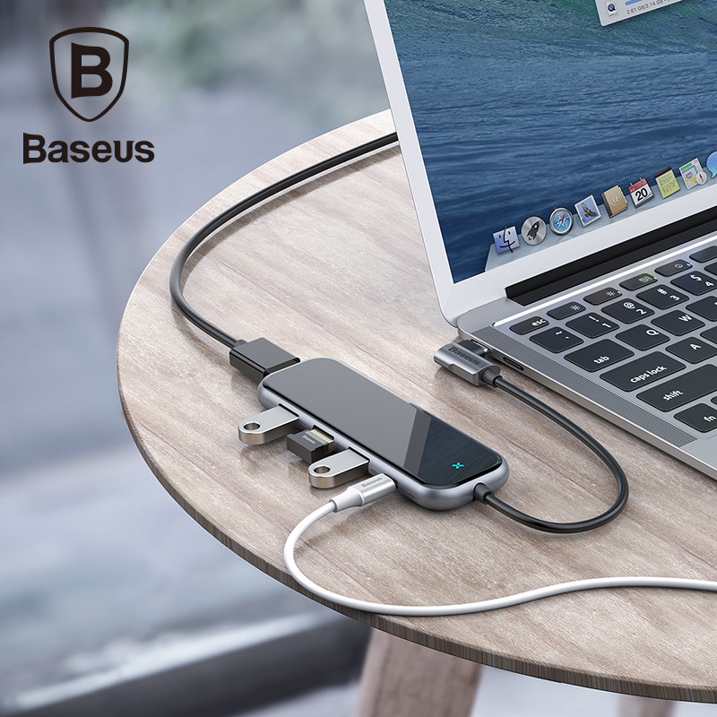 Baseus USB C Hub with 3 Usb ports Type C Usb Hub to USB 3.0 HD4K for Macbook Pro with 3.5mm Audio Jack