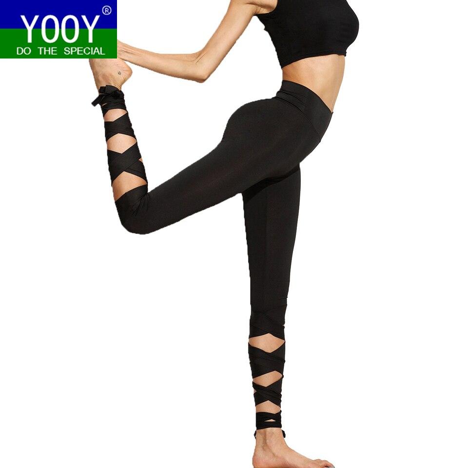 Prix pour 2017 Femmes Yoga Pantalons Sport Leggings Fitness Croix Haute Taille Ballet De Danse Serré Bandage Yoga Recadrée Pantalon Ballerine de Sport