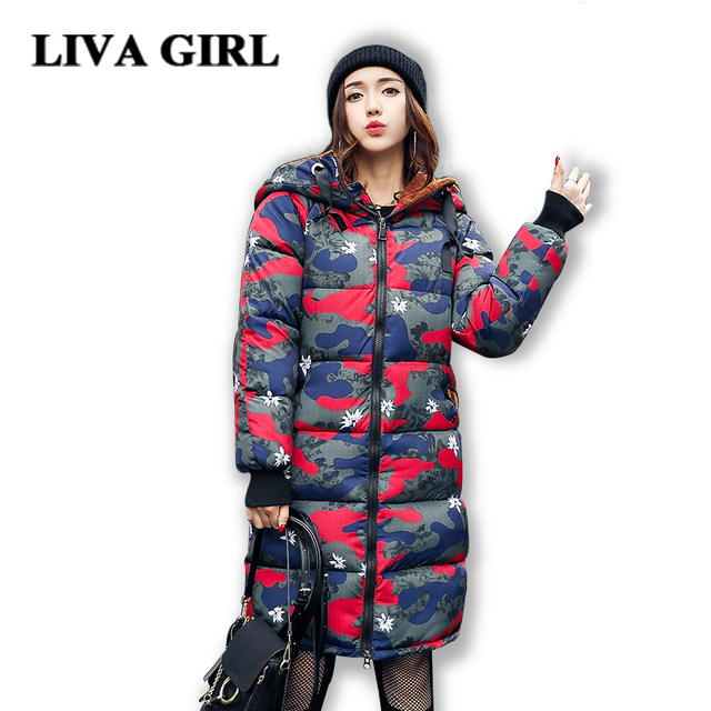 Camouflage Coat 2017 Fashion winter jacket women Long Down Cotton ...