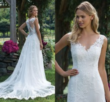 Plus Size Simple Wedding Dresses V Neck Lace Court Train Cap Sleeve Mermaid Wedding Dress Custom Made Country Bridal Gown