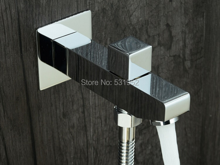 G1/2 Square Wall Mounted Solid Brass Shower Spout with Diverter Valve In-Wall Shower Mixer Faucet Spout Filler new hot sale wall mounted square shower mixer faucet control valve diverter 3 ways shower valve