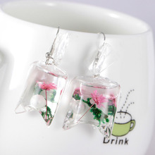 Originality Transparent Candy Ocean Conch Earrings Woman Personality Resin Dried Flowers Eardrop Beach Holiday