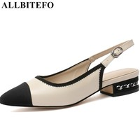 ALLBITEFO genuine leather women shoes ladies high heels high quality pointed toe spring summer girls office ladies shoes