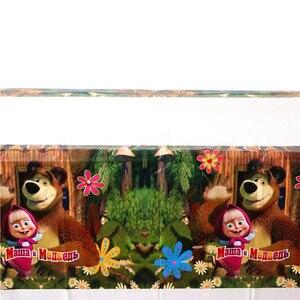 Image 2 - Conjunto de vajilla con tema de Masha y oso para Celebración de bebé, Decoración de cumpleaños para niños, suministros para fiesta y evento de boda, 106 unidades