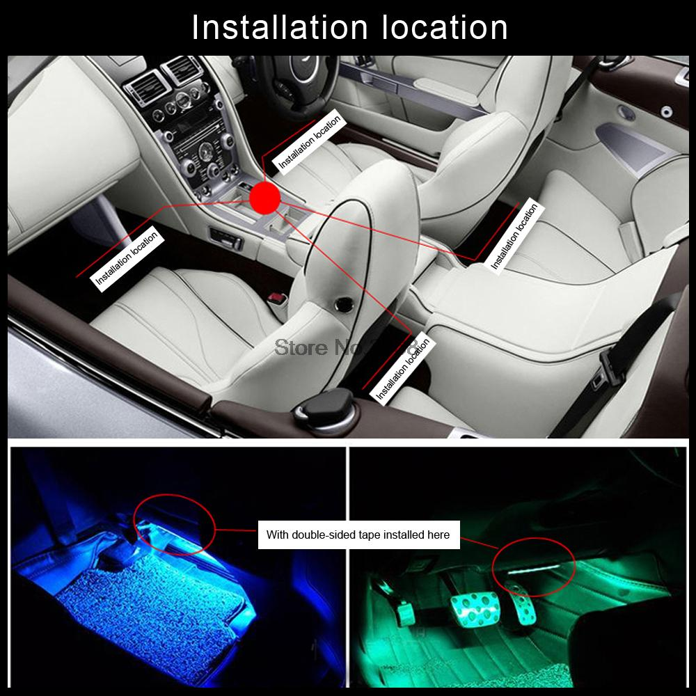 2016 Interior Decorative Atmosphere Neon Light Lamp Multi Color RGB LED Wireless Voice Sensor Sound music control Car Lighter
