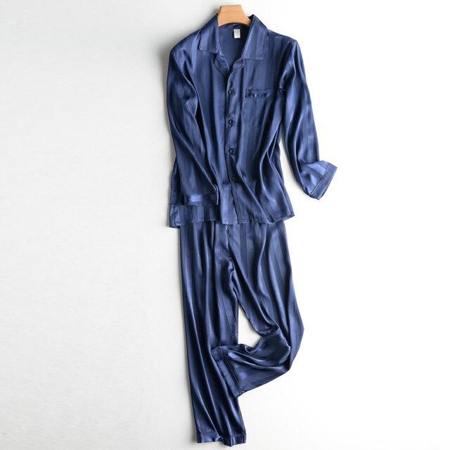 JCVANKER 2018 New Hot Sale Autumn Satin Silk Pajamas For Men Nightshirt  Home Suit Sleepwear Full sleeve Trousers Set Cardigan 2577e063d