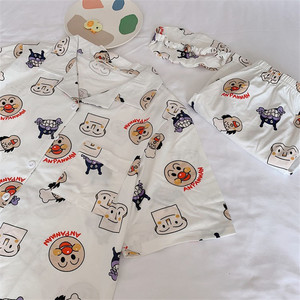Image 4 - Caiyier 2019 Summer Cotton Pajama Sets Bread Superman Print Short Sleeve Ladies Sexy Sleepwear With Eye Mask Casual Nightwear
