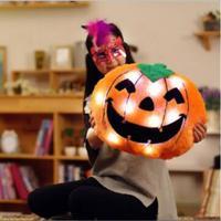 1pcs 50 40cm Lovely Halloween Luminous Sound Pumpkin Pillow Kawaii Plush Toy Funny Music Doll Bed