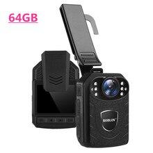 BOBLOV 64 Гб полицейская камера HD1296P видео Регистраторы носимых тела Камера 2 дюймов Экран безопасности Мини комкаторы camara policial