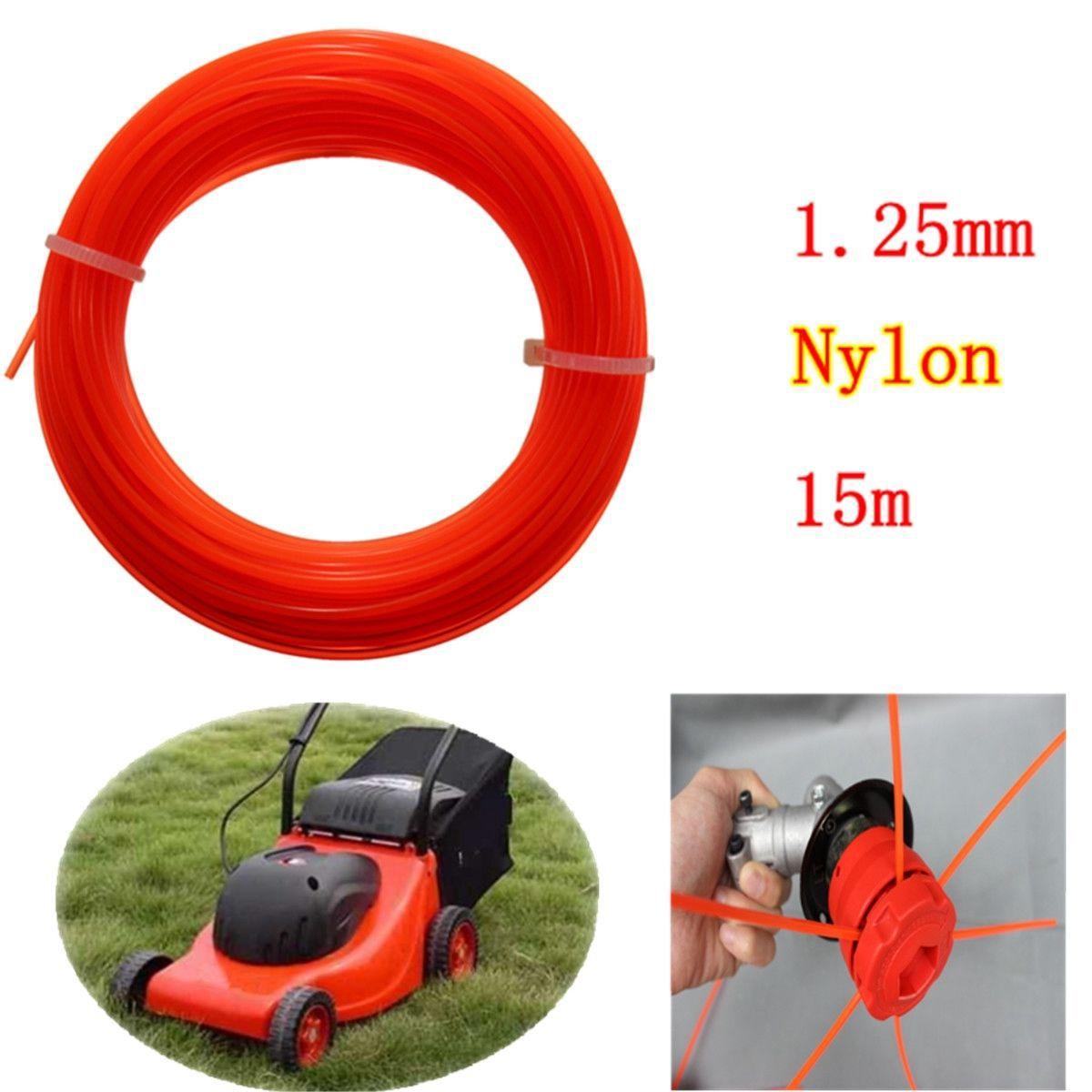 New Nylon Trimmer Line Rope Roll For Most Petrol Strimmers Machine Lawn Mover Parts 15m x