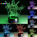 2016 Hot Deadpool 7 colors 3D LED Night Light All Colors Flash In Turn and gift to friend Creative gifts