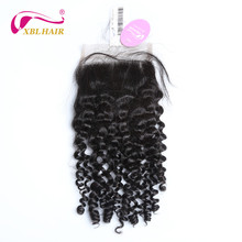 XBLHAIR Curly Lace Closure With Baby Hair Free Part Natural Color 130 Density Brazilian Human Hair