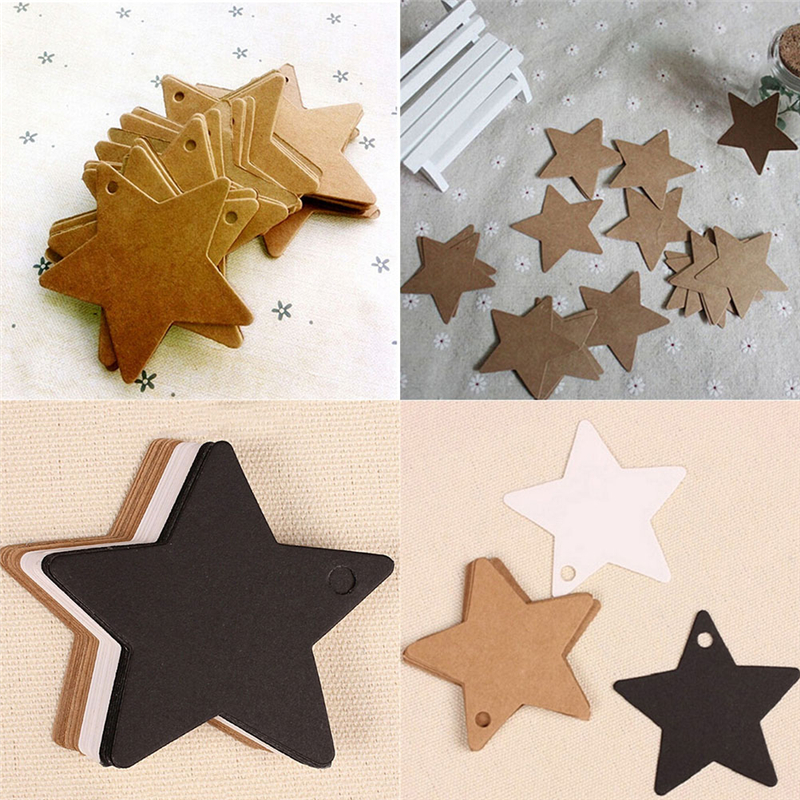 100Pcs Black Star Kraft Paper Label Price Tags Wedding Christmas Halloween Party Favor Gift Card Luggage Tags Packaging Labels