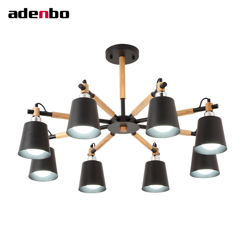 Creative Ceiling Chandelier 3/6/8 Lights Living Room LED Chandeliers Lighting White And Black Solid Wood Craft Nordic Lights
