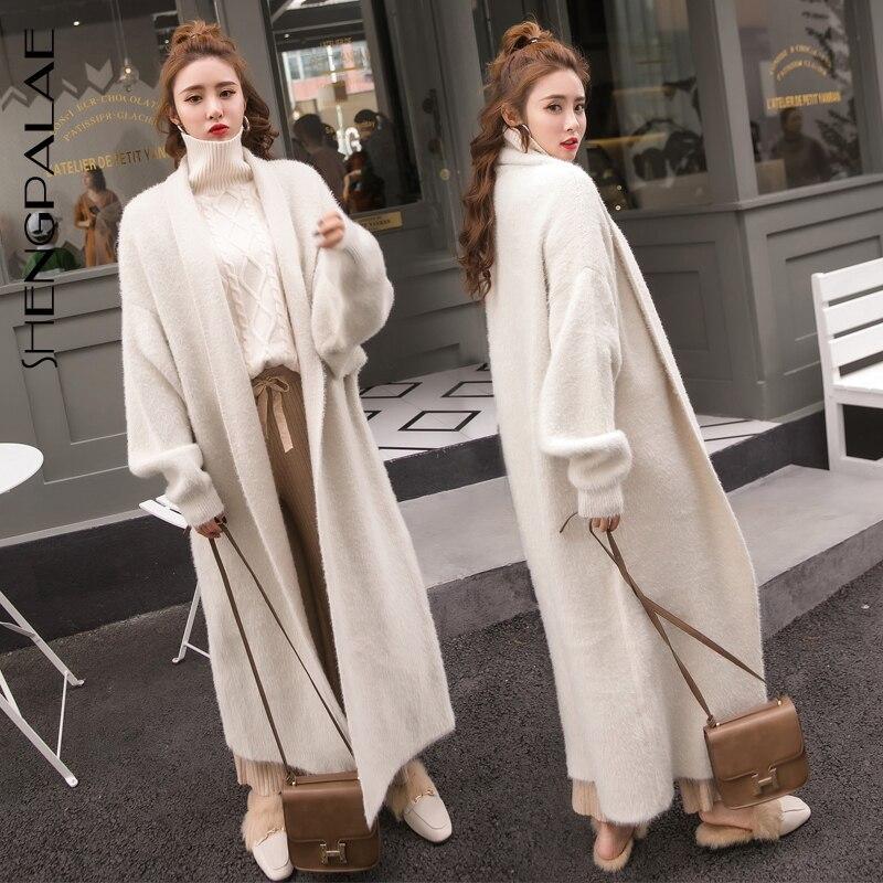 SHENGPALAE automne hiver femmes chaud manteau velours v-cou chauve-souris à manches longues solide veste femmes lâche Oversize Cardigans chandail HD125