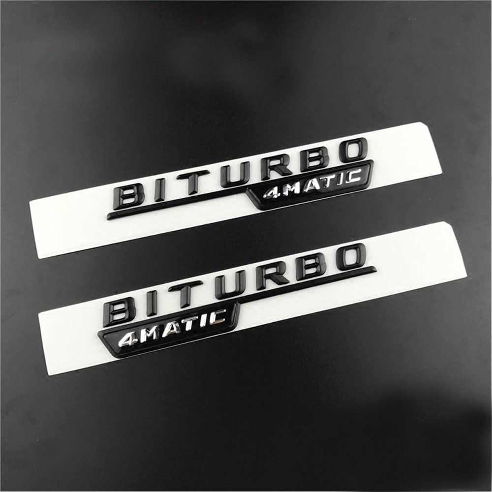 2pcs lot BITURBO TURBO 4MATIC Emblem Badge Letters Car Front Fender Stickers For Mercedes Benz AMG 4 Matic