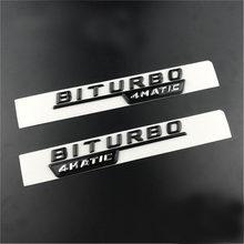 Эмблема 2шт./лот BITURBO TURBO 4matic, значок с буквами, наклейки на переднее крыло автомобиля для Mercedes Benz AMG 4matic