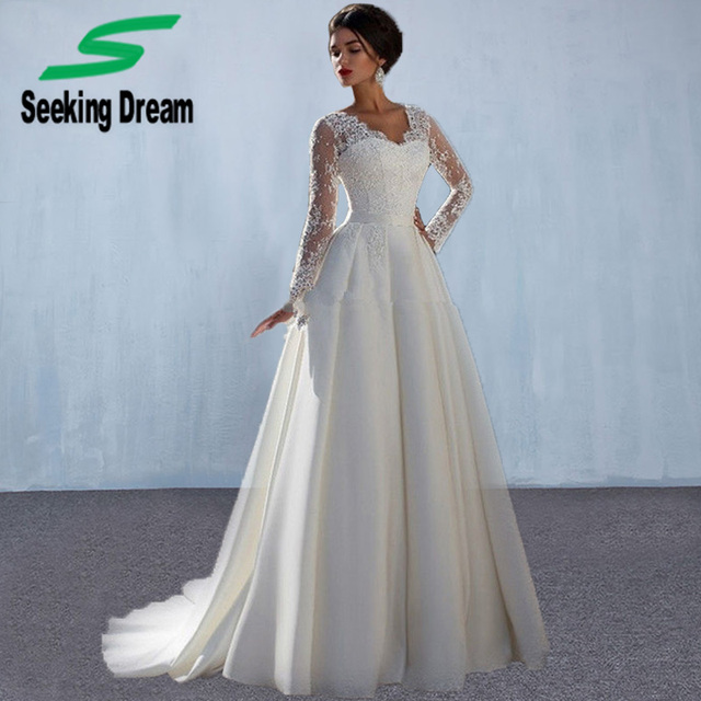 2017 Hotest White Lace Long Sleeves Ballkleid Kleid A linie ...