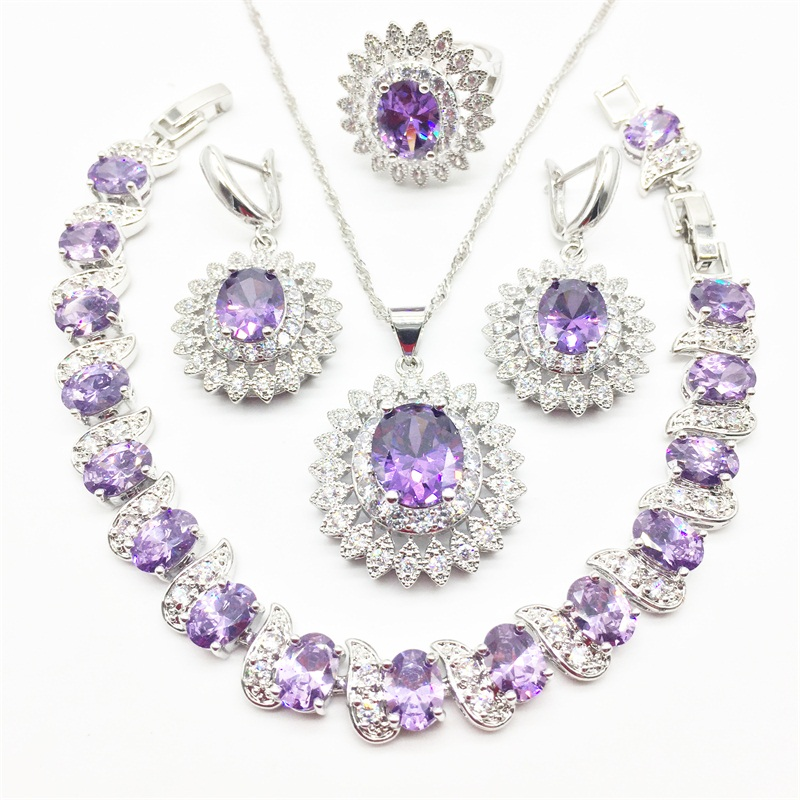 Mystic Purple Fire CZ 925 Sterling Silver Jewelry Jewelry Sets Women Earrings/Pendant/Necklace/Rings/Bracelet