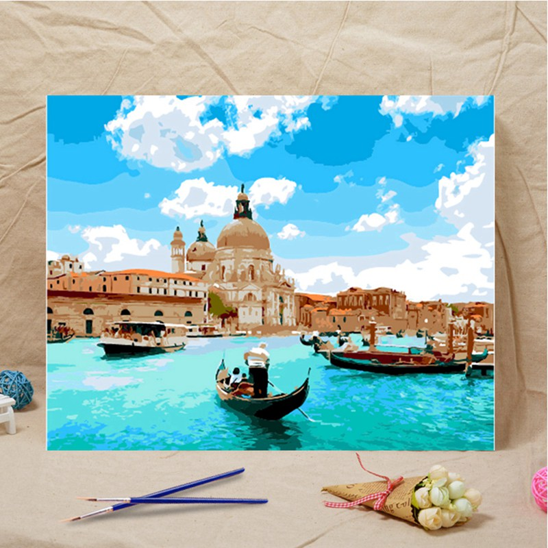 Hot 40x50cm Venice Seascape DIY By Numbers Home Wall Art Canvas Painting Hand Painted Acrylic Picture Gift