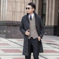 Hot Sell Grey Casual Single Breasted Woolen Coat Men Long Overcoat Mens Cashmere Coat Business Fashion
