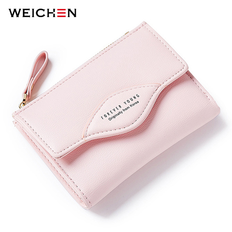 Sunny 2019 New Forever Young Women Wallets Fashion Pu Leather Tri Fold Cute Sweet Short Purse For Girl Brand Design Pink Female Purses Wallets