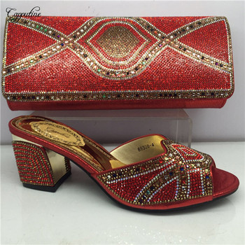 Excellent red high heel sandal shoes with purse bag set with rhinestones GY29 heel height 6cm