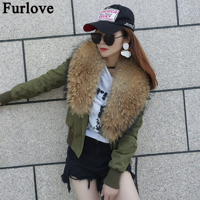 Furlove winter jacket coat women parka cotton bomber jacket real natural raccoon fur collar hooded and thick warm cotton liner printed long raccoon fur collar coat women winter real rabbit fur liner hooded jacket women bomber parka female ladies fp896