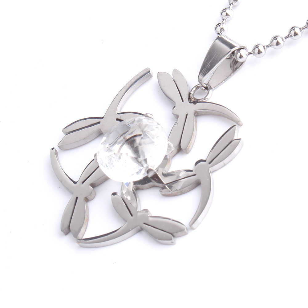free shipping Dragonfly zircon pendant necklaces bead chain for men women 316L Stainless Steel  wholesale