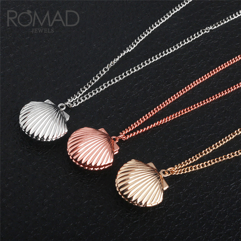 ROMAD Sea Style Gold Color Big Shell Shaped Statement Necklace Alloy Fashion Pendants Necklaces for Women Summer Jewelry R4