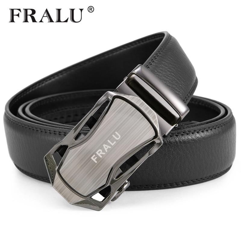 FRALU cinturón de los hombres de lujo famoso diseñador de la marca de alta calidad hombre correa de cuero genuino Blanco Automático hebilla Ceinture Homme