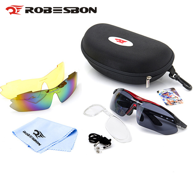 ROBESBON Cycling Eyewear Bike Bicycle Sunglasses MTB Outdoor Sport Glasses Goggles Protective Glasses gafas ciclismo 3 Lens