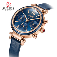 JULIUS Creative Watches For Women Fashion Quartz Watches Retro PU Leather Montre Femme Auto Day Date