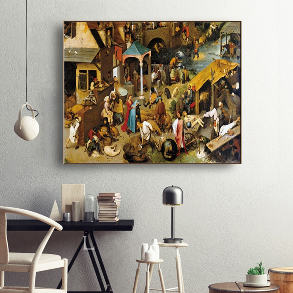 Netherlandish Proverbs Famous Canvas Painting Calligraphy Poster Prints Living Room House Wall  Art Home Decor Picture