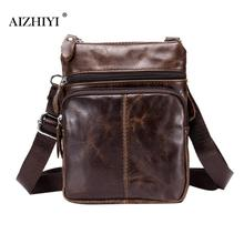 AIZHIYI Brand Business Crossbody Bag for Men Fashion Leather