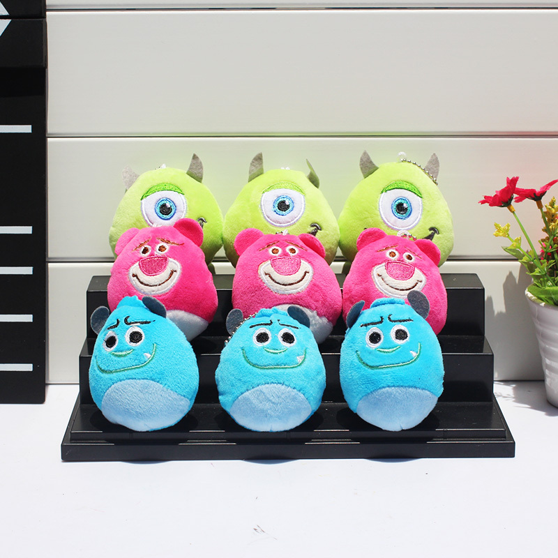5pcs lot Toy Story Pink Bear Sullivan Mike Wazowski Mini Plush Keychain Soft Stuffed Animals Plush