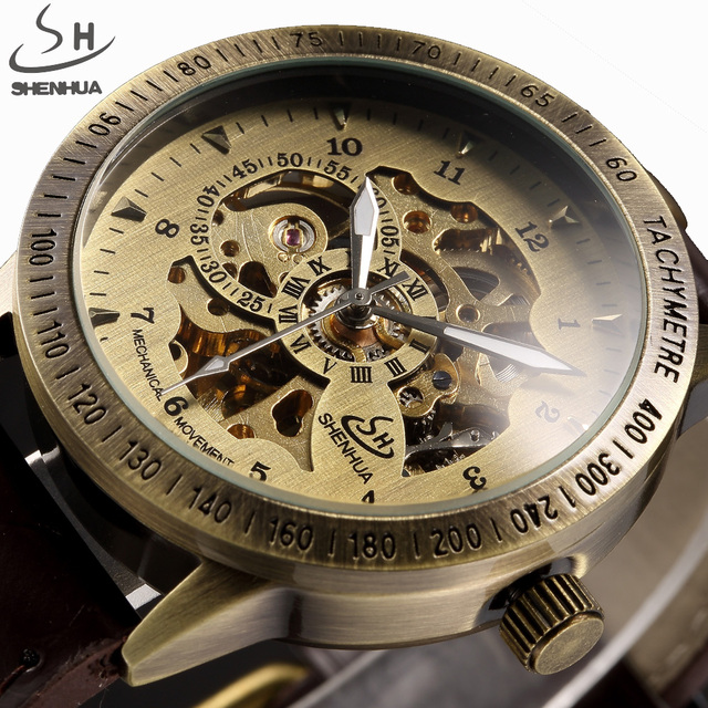 df416f93eb3 SHENHUA Steampunk Vintage Bronze Relógios De Pulso Homens Esqueleto  Pulseira de Couro Relógio Masculino Relógios Casuais