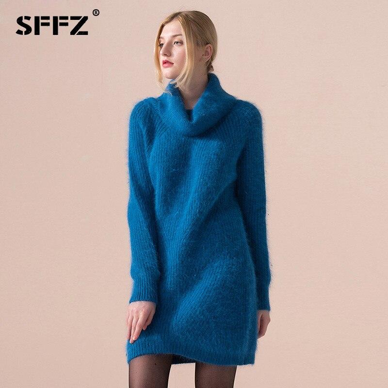 Qualité Haute Tricoté Chandail Solide Roulé Sffz Robes Cheveux Blue Casual Pull Lapin light Pulls Femmes Luxe Couleur Purple Col Mode De w4q5dT
