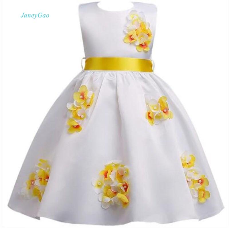 JaneyGao Flower Girl Dresses For Wedding Party Little Girl Birthday Dress Knee Length Teenage Girl First Communion Dress 2019