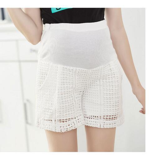 Ropa de Maternidad del verano De Maternidad Cortos De Fibra Pantalones Para Mujeres Embarazadas Moda de Encaje Doble Rejilla Elástica Cintura Pantalones Del Vientre